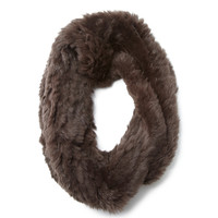 ADRIENNE LANDAU Brown Knit Rabbit Cowl