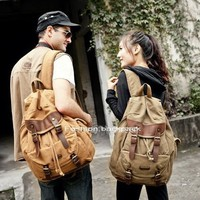 fashion canvas flap rucksacks with leather buckle