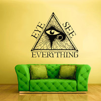 Wall Vinyl Sticker Decals Decor Art Bedroom Design Mural Illuminati all seeing eye (z2187)