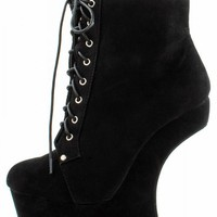 Mona Mia Freda1 Black Heel Less Laced Ankle Boots shop Boots at MakeMeChic.com