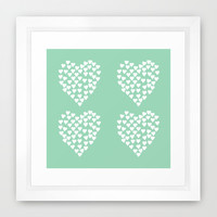 Hearts Heart x2 Mint Framed Art Print by Project M