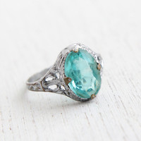 Antique Filigree Aquamarine Blue Glass Stone Ring - Vintage Art Deco 1920s 1930s Filigree Rhodium Plated Silver Tone Jewelry / Faceted Oval