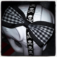 Black and White Buffalo Plaid Hair Bow with Black Trim