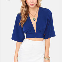 LULUS Exclusive Tie the Hot Blue Crop Top