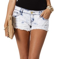 SALE-WhiteBlue Acid Wash Shorts