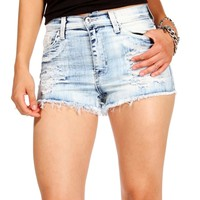 Light Denim High Waisted Distressed Short