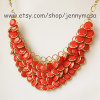 Coral Bib Necklace -Bubble Statement Necklace,holiday party,bridesmaid gift,bubble necklace,beaded jewelry with chain