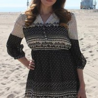 Black & Beige Snowflake Print Tunic Dress