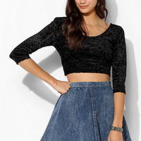 Sparkle & Fade Velvet Cross-Back Cropped Top - Urban Outfitters