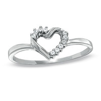 Diamond Accent Twist Heart Ring in 10K White Gold