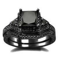 2.01ct Black Princess Cut Diamond Engagement Ring Wedding Set 14k Black Gold