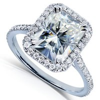 3ct DEW Radiant-cut Moissanite and Diamond Engagement Ring in 14k White Gold