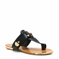 Hardware-Thong-Sandals BLACK GREEN NUDE ORANGE - GoJane.com