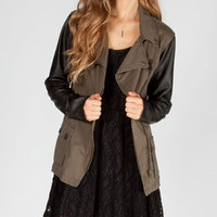 WYLDEHART Faux Leather Sleeve Womens Twill Anorak Jacket