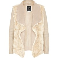 GIRLS CREAM SHEARLING PANEL WATERFALL JACKET