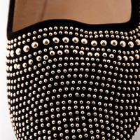 Slip into Style Studded Pointed Toe Flats - Black