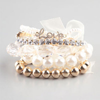 FULL TILT 5 Piece Pearl/Facet/Love Bracelets