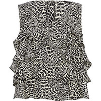 BLACK ANIMAL PRINT LAYERED FRILL SHELL TOP
