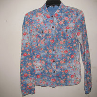 Blue floral button up shirt size XS