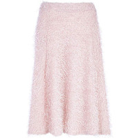 LIGHT PINK EYELASH KNIT FULL MIDI SKIRT