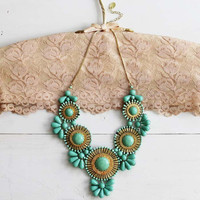 Bohemian Romance Necklace in Mint