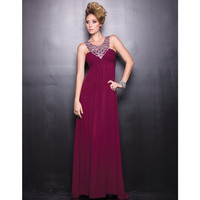 2014 Prom Dresses - Burgundy Chiffon Sequin Prom Dress