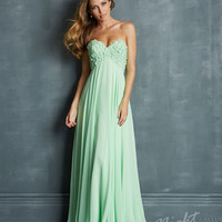 (PRE-ORDER) Night Moves by Allure 2014 Prom Dresses - Mint Chiffon & Floral Accent Prom Gown