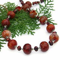 Red Crackle Fire Agate Handmade Necklace Pearls Gemstone OOAK Jewelry