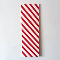 Red and White stripe painting large 10x30 christmas wall art decor