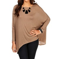 Taupe Boatneck Drop Sleeve Top