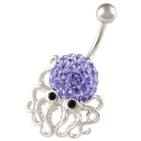 "cute belly button rings dangle unique animal 14g a piece - pick you color - 3/8"" long surgical steel sexy dangle unusual octopus navel piercing jewelry BEAD (Octopus Tanzanize (Purple))"