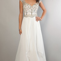 Floor Length Cap Sleeve Rhinestone Embellished Dress