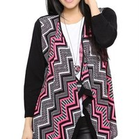 Aztec Waterfall Cozy with Three-Quarter Length Solid Sleeves