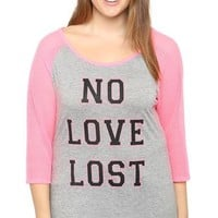 Plus Size Raglan Top with Mesh Sleeves and Neon No Love Lost Screen