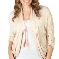 Plus Size Three-Quarter Sleeve Open Front Cozy with Two Pockets