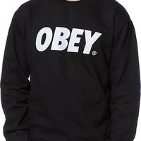 Obey Font Black Crew Neck Sweatshirt