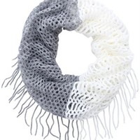 Infinity Scarf with Two Tone Pattern and Fringe