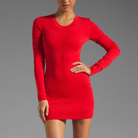 Torn by Ronny Kobo Olga Chevron Pointelle Dress in Red
