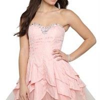 Strapless Lace Dress with Stone Neckline and Tulip Skirt