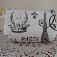 French Stamps Clutch Wristlet Zipper Gadget Pouch