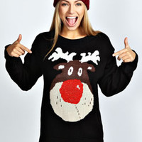 Kayleigh Metallic Nose Reindeer Jumper