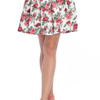 ROMWE | Red Floral Printed White Skirt, The Latest Street Fashion
