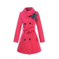 Womens Winter Slim Fit Parka Lady Double Breasted Trench Coat Corsage Outerwear