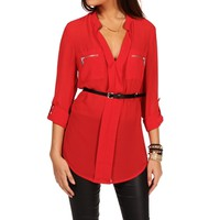 Red Roll Up Chiffon Top