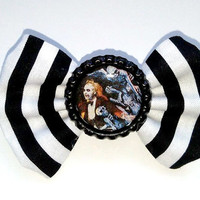 Small Beetlejuice Hair Bow- Stripes, Rockabilly, Psychobilly
