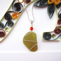 Amber Yellow seaglass wire wrapped pendant with orange swarovski crystal - Perfect nautical gift for beach lovers - FREE SHIPPING