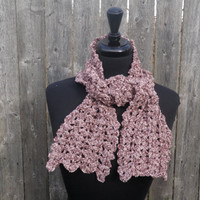 pink champagne chenille scarflette, cabeled mini-scarf