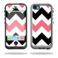 Protective Vinyl Skin Decal Cover for LifeProof iPhone 5C Case fre Case Sticker Skins Black Pink Chevron