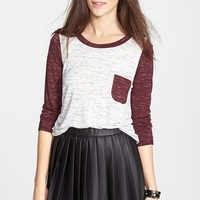 Chloe K Two-Tone Baseball Tee (Juniors) | Nordstrom