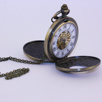 Vintage Steampunk Mechanical Pocket Watch Necklace